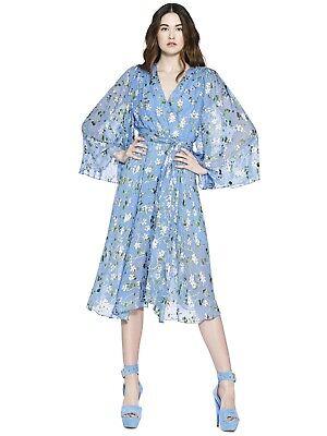 Alice + Olivia Halsey Bellsleeve Midi Dress Floral Blue Belted Size 2 NWOT (Halsey Apparel)