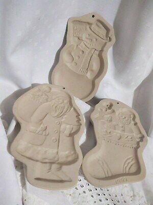 3 Stoneware Pottery Cookie Molds Brown Bag Cookie Art VTG Santa Snowman Stocking
