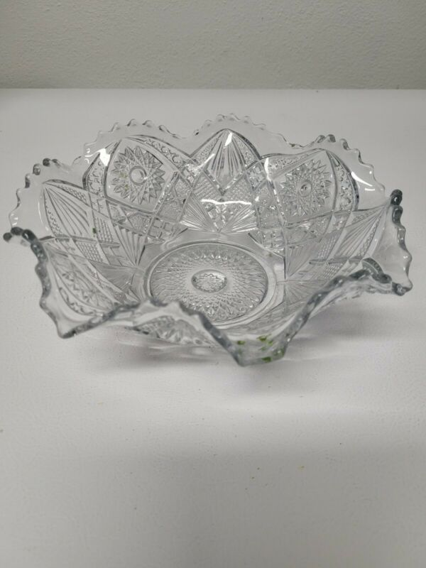 """Imperial Glass Clear Hobstar Ruffled 9"""" Bowl"""