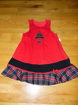 NWT Girl's Christmas Dress sz 5 Red Corduroy Jumper Embellished w/Christmas Tree