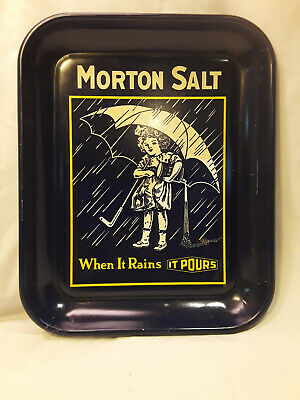 "Vintage MORTON SALT ""Umbrella Girl When It Rains It Pours""Tray w History on Back"