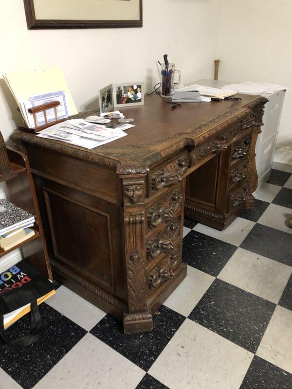 Antique Carved Oak Desk 1920 original