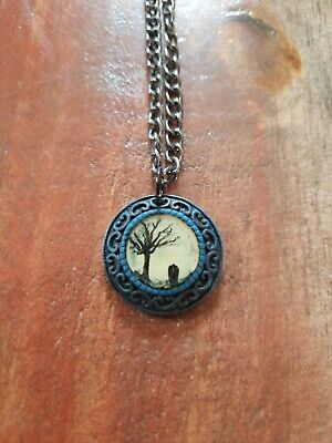 Handmade Charm Necklace, Black And Blue. Tree And Gravestone, Halloween, Goth