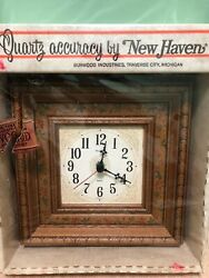 Vintage New Haven Quartz Wall Clock Square Burwood Products Country Floral