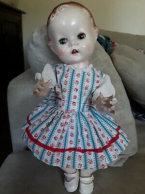 "Vintage 1950S Pedigree Hard Plastic Toddler Baby doll 14"""