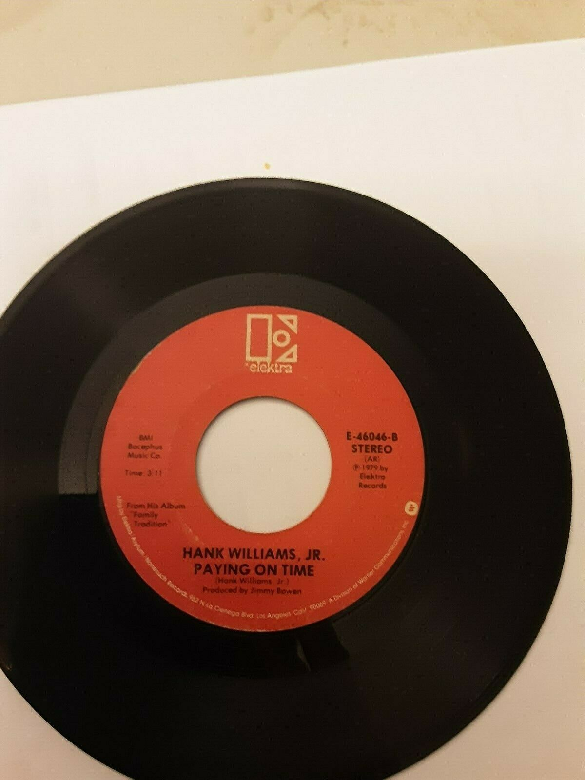 Hank Williams Jr. 45 Single Paying On Time Family Tradition  - $1.99