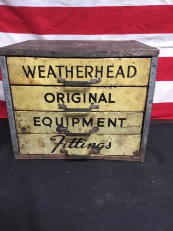 Vintage 1930s Metal WeatherHead Store Cabinet Fittings Gas And Oil.