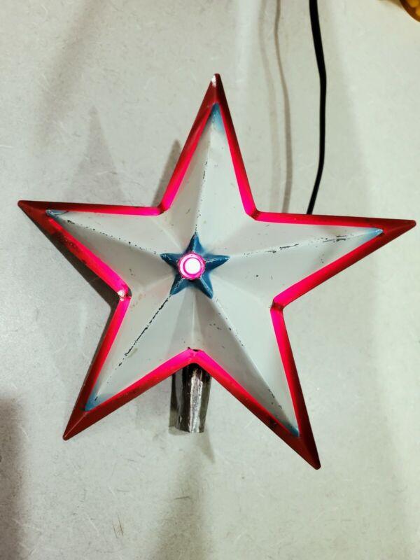 Vintage NOMA Glo-lite Metal Illuminated Christmas Tree Topper Star