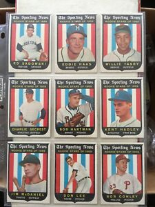 1959 - Topps Rookie Stars baseball cards ( 9 Card lot)
