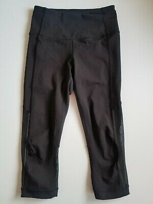 "Lululemon Gear Up Crop (17"") Black Mesh Reflective Size 2"