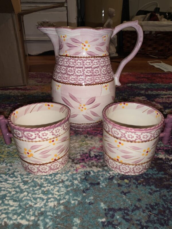 Temptations Old World Pitcher And Two Cups By TARA Pink