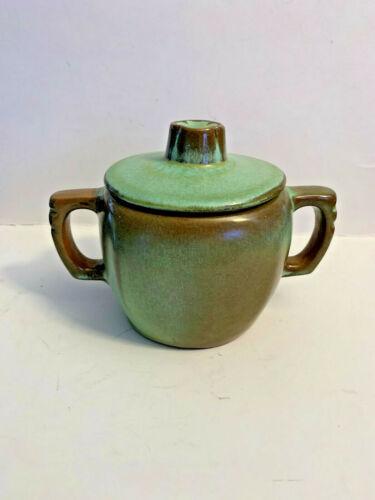 Vintage Frankoma Pottery Prairie Green Plainsman Sugar Bowl with Lid