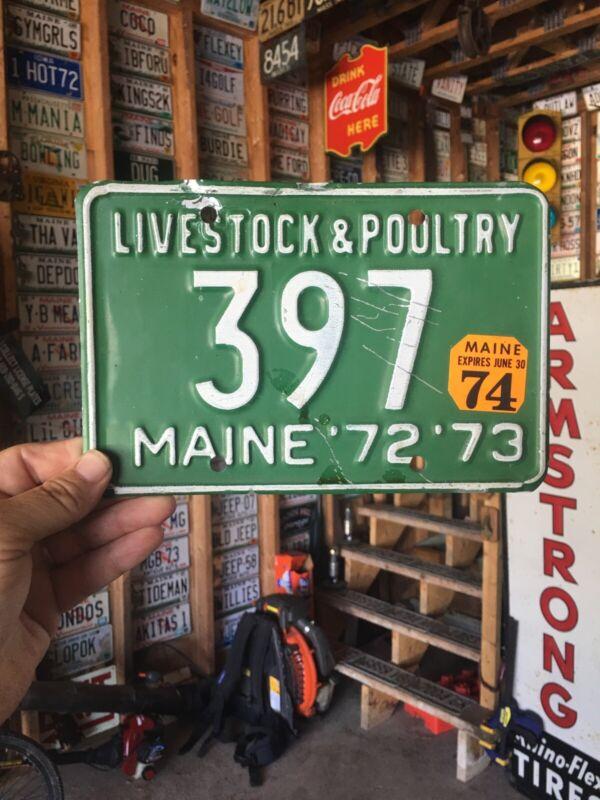 1972 73 74 maine LIVESTOCK POULTRY DEALER  license plate   # 180 ME Farm Rare