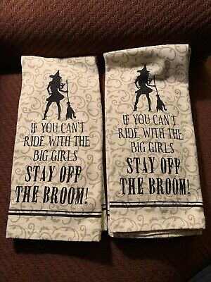 "Casaba Halloween Kitchen Towels ""If You Can't Ride With The Big Girls Stay Off"