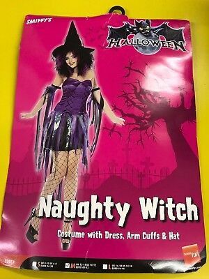 Halloween Naughty Witch Fancy Dress Costume wit Arm Cuffs and Hat - Size 12 - 14 - Naughty Witch Costume