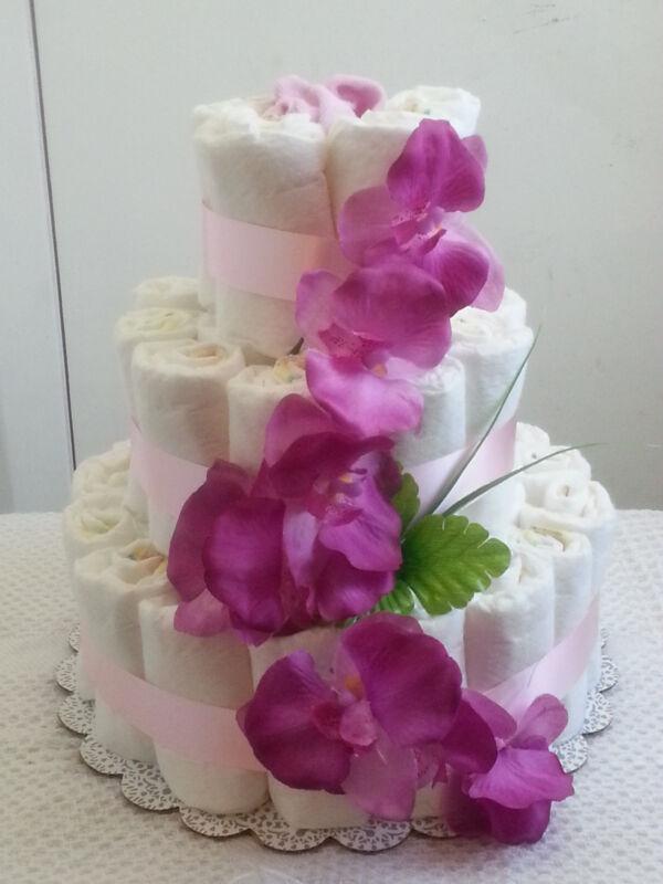 3 Tier Diaper Cake Pink Lavender Floral Flower Baby Shower Centerpiece - Girl
