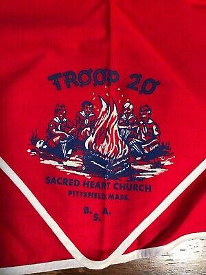 Vintage Boy Scouts Sacred Heart Church Troop 20 Pittsfield Mass neckerchief bsa