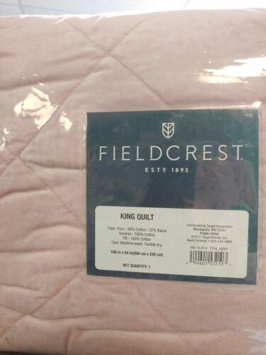 Velvet Coverlet - Fieldcrest - KING QUILT - PINK