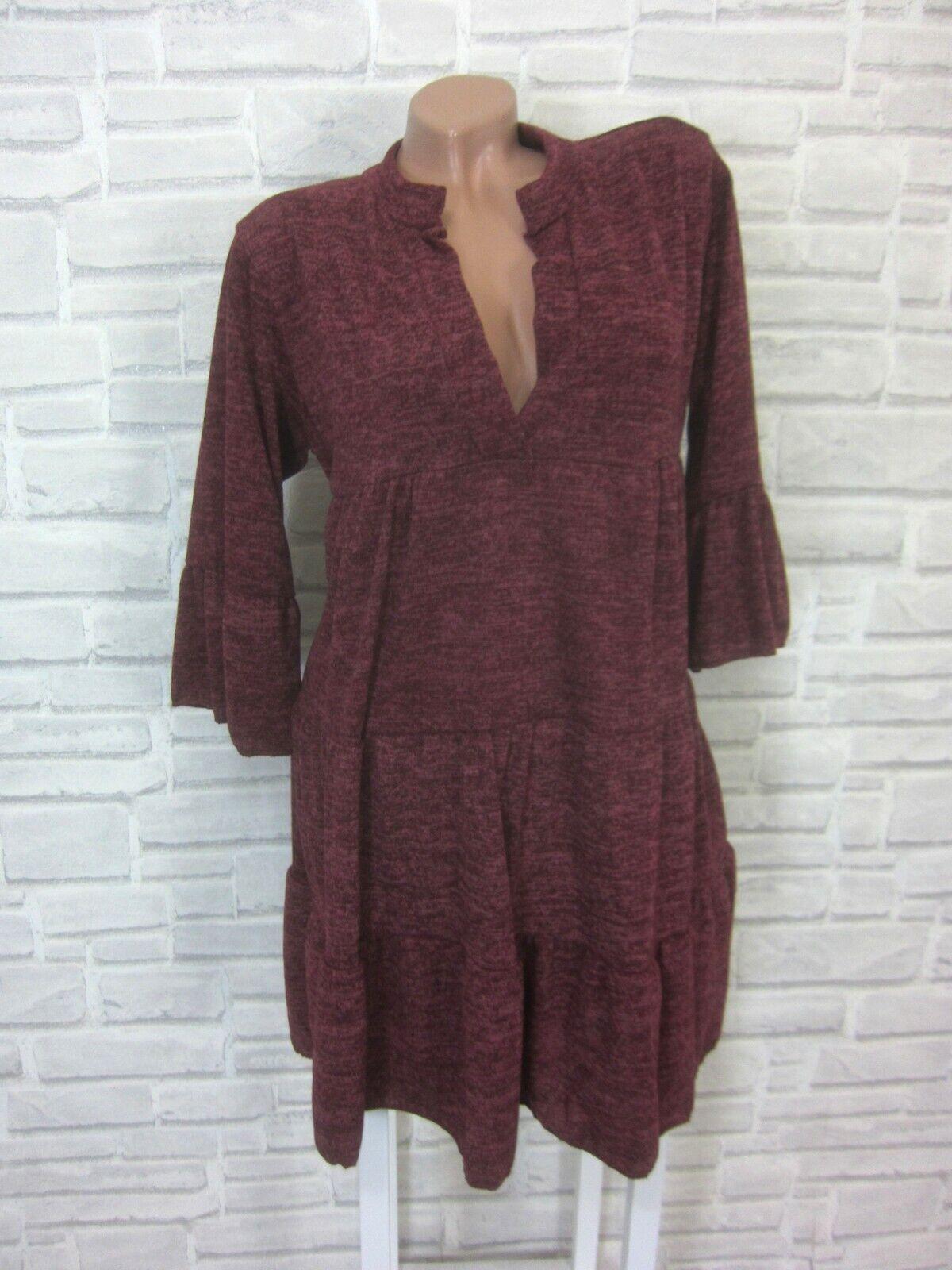 Italy Strickkleid Blogger Volant Feinstrick Kleid Tunika 38 40 42 Bordeaux E794