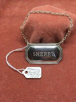 A Superb Vintage Solid Silver Rectangular Sherry Decanter Label HM Sheffield1973