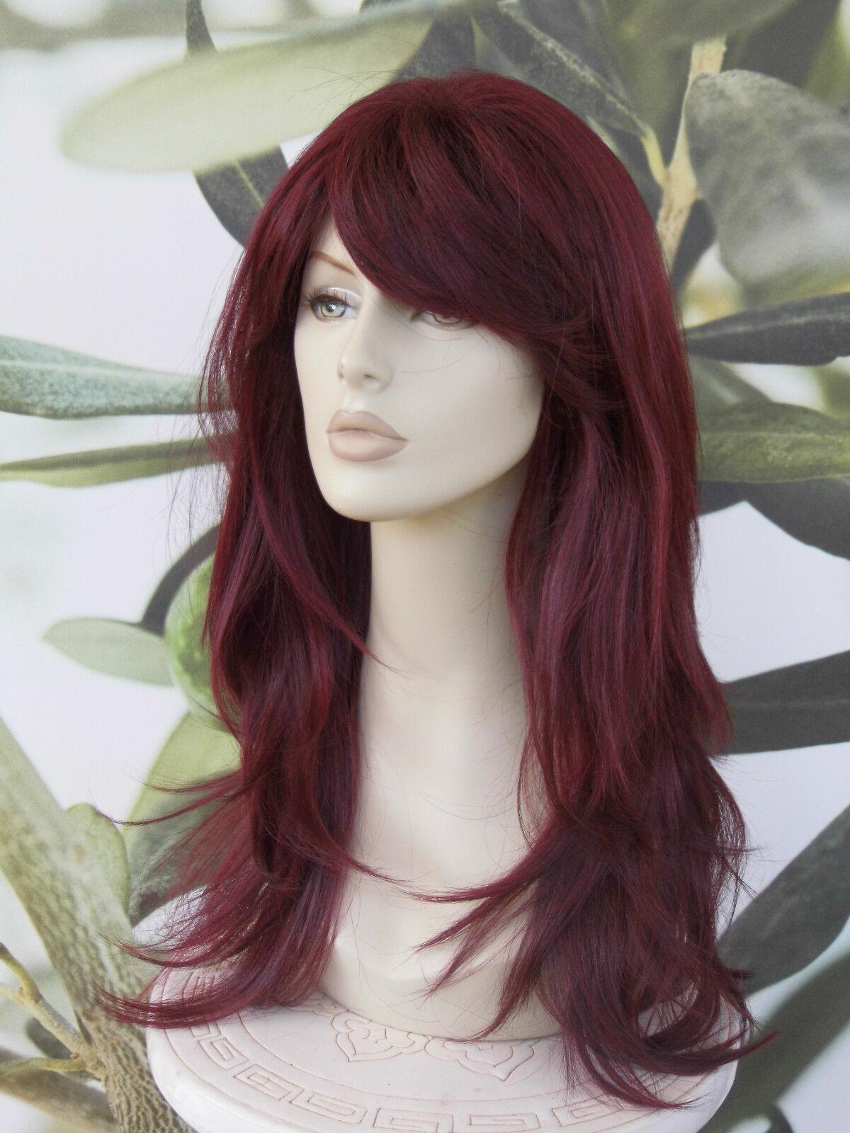 complet femmes perruque cheveux tendances rouge bordeaux/prune heat