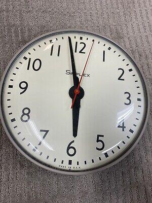 "VINTAGE SIMPLEX Glass Dome Industrial School Wall Clock 15.5"""