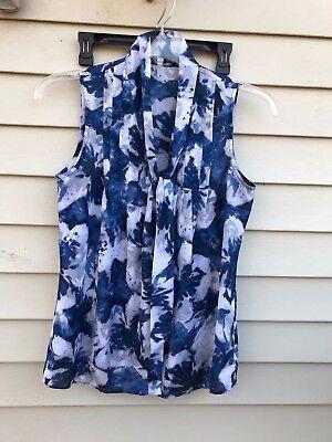 Anne Klein Tie -  ANNE KLEIN Womens Tie Neck Sleeveless  Button DOWN Top size M