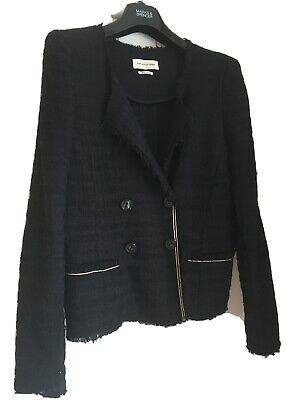 Isabel Marant black short raw edge blazer jacket Tweed Boucle EU 40 UK 10 VGC