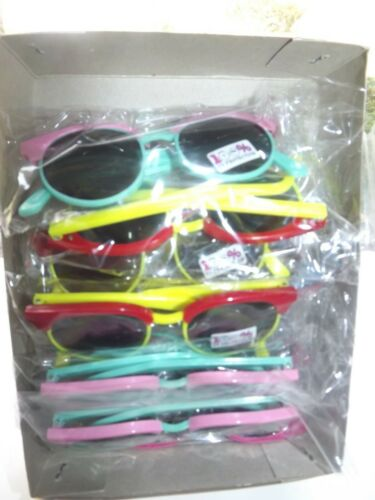 SUNGLASSES LOT OF 12 ASSORTED COLORS GIRLS 100% UV PROTECTION