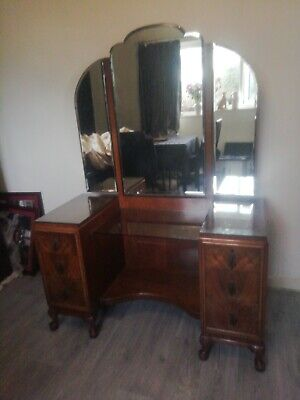 Antique Waring and Gillow Burr Walnut Triple Bevelled Mirror Dressing Table