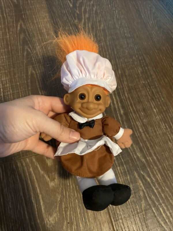 Vintage Russ Orange Hair Thanksgiving Troll Doll Pilgrim 6""
