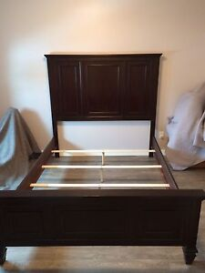 Queen mahogany wood bed frame