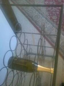 Wine Rack Holds 25 Bottles Wrought Iron With Glass Top Cabinets