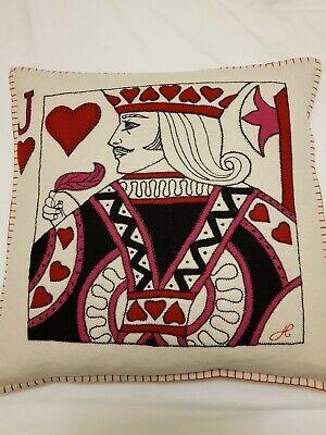 BNWT Jan Constantine Jack Of Hearts Playing Card Wool Cushion