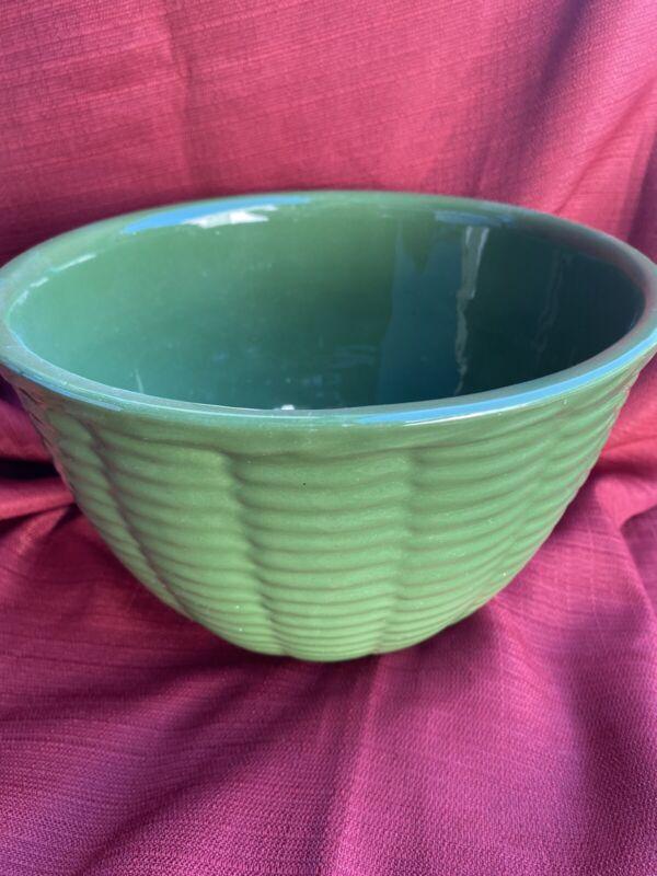 Watt Pottery GREEN BASKETWEAVE DESIGN Mixing Bowl Vintage RARE