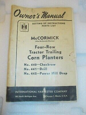 Mccormick Deering Ih Manual Four Row Tractor Corn Planters 440 441 442 Pullout
