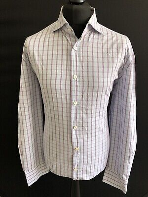 "Kiton Shirt, Blue/Purple Check, Size 18.5"", RRP £1,129 *100% Cotton*"