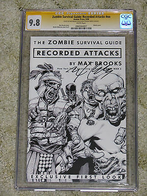 Zombie Survival Guide Recorded Attacks CGC SS 9.8. Signed Max Brooks World War Z