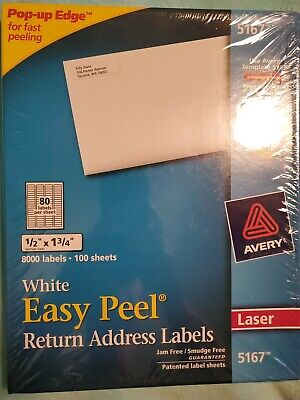 New Sealed Avery Easy Peel Laser Address Labels 12 X 1 34 8000 Labels White