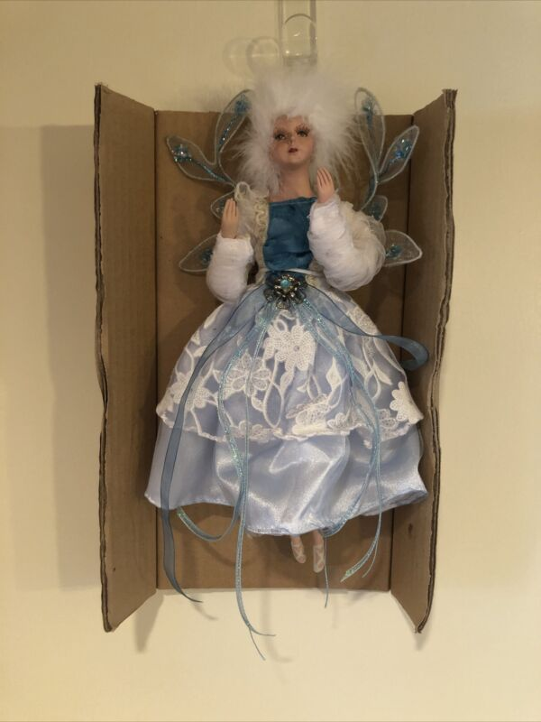 "12"" Hanging Fairy Ornament, White / Blue, KF5382"