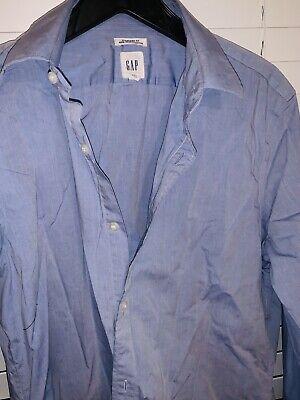 Gap Mens Lt Blue pinpoint oxford straight collar Medium no iron -