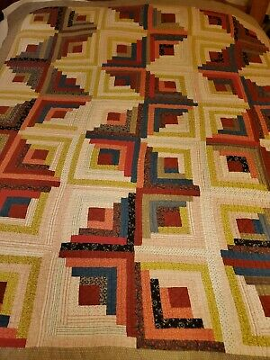 STUNNING ANTIQUE Hand stitched Log Cabin Quilt, Early Fabrics, Bright Colors!!!