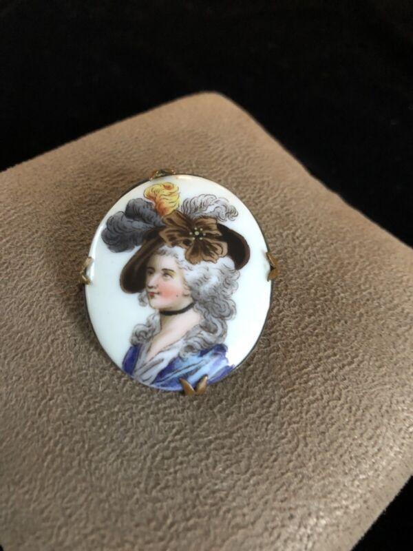 Beautiful Antique Porcelain Victorian Cameo Portrait Pin Brooch