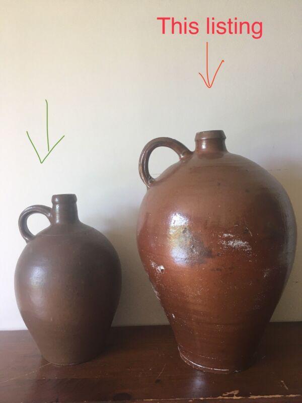 PERFECT GIANT Antique 18th C Manganese Slip Glazed Ovoid Stoneware Jug CT Signed