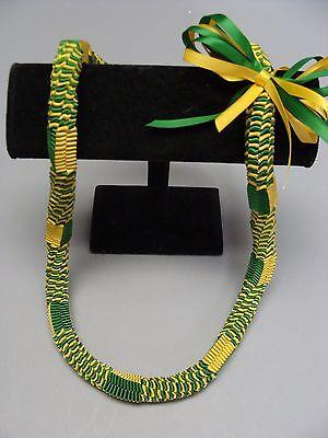 Hawaiian Ribbon Square Weave Graduation Lei green yellow gold