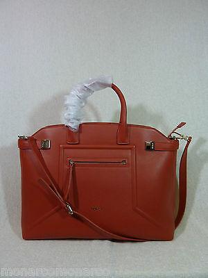 NWT FURLA Maple Orange Leather Lrg Top Handle Alice Satchel Bag - Made in Italy