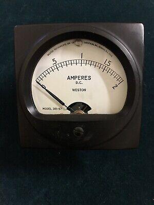 Vintage Weston Amperes Dc Meter Gauge 0-2 Model 301-57