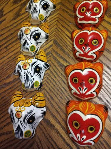 Hand Painted Asian Animal Face Miniature Mask Hanging Ornaments Set of 8
