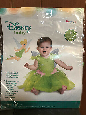 Disney Baby TINKER BELL COSTUME 6-12 months Size 1+ Dress & Detachable Wings