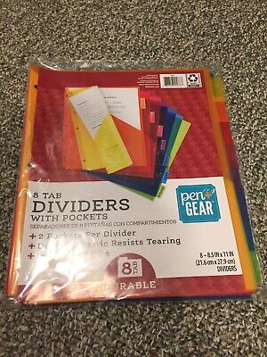 Pen Gear 8 Tab Dividers With Pockets Plastic Washable 3 Ring Binder New In Pack